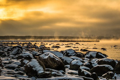 winter sea mist snow seascape sunrise nikon estonia stones ngc pirita d7100