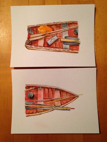I started these boat sketches a couple of years ago. I didn't like them and stopped working on them. Tonight I tried to salvage what I had started.