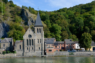 CHURCH ON RIVER MEUSE FRONT (BELGIUM, WALLOON, DINANT)
