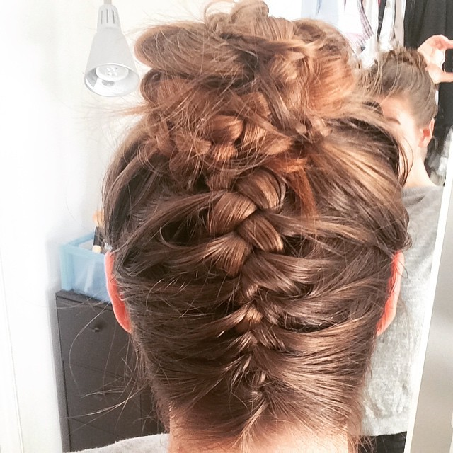 Loved my Linda braid so much that I did my own French braid version today (because Dutch braiding screws with my head)