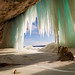 Cavern behind ice curtains on Grand Island on Lake Superior by Craig - S