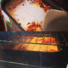 One lasagna in the oven. One ready to go in. #food…