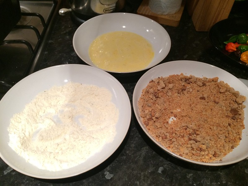 Breaded Fish and Chips : Prepare the breading ingredients