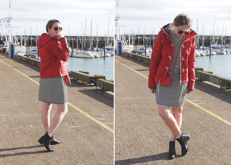 Stripe Dress, Red Coat, Bumpkin Betty