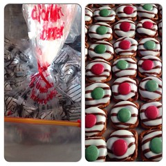 Before & after, Hershey pretzel hug treats. These are always popular! #yummy #Christmas #baking