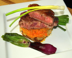 Rare Cooked Fillet of Beef, Sweet Potato Mash, Spr…