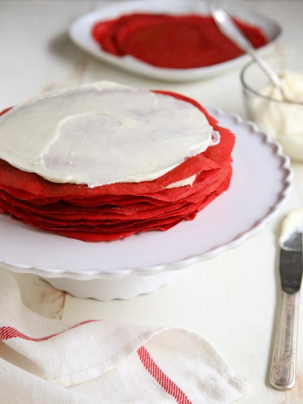 Red Velvet Crepe Cake | completelydelicious.com