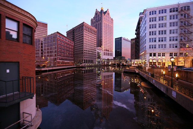 Just after Sunset, Late Autumn, Milwaukee River off Wells Street Bridge