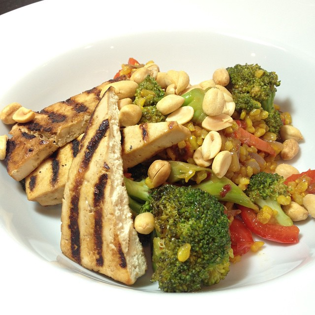 Grilled Tofu w. Spicy Veg Fried Rice www.good-good-things.com #vegan