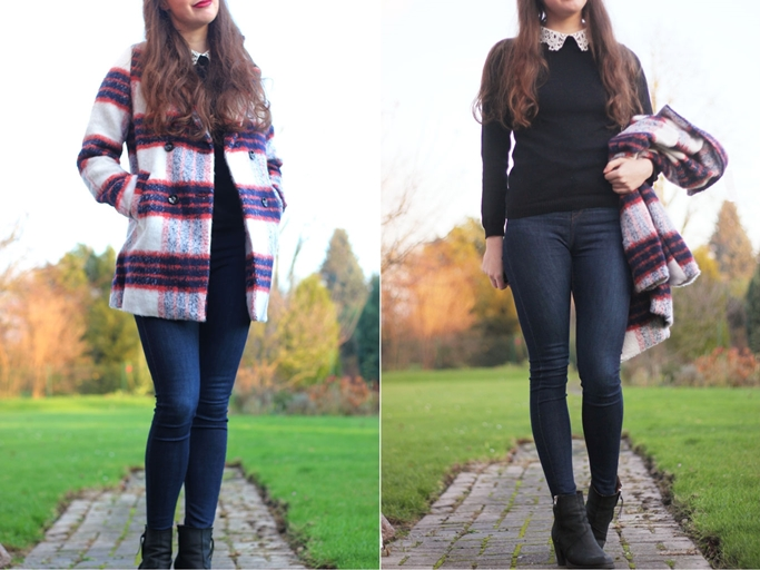 Primark black jumper with collar - primark pullover mit bubikragen