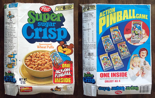 1978 Super Sugar Crisp Action Pinball Game Cereal Box