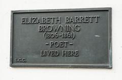 Photo of Elizabeth Barrett Browning black plaque