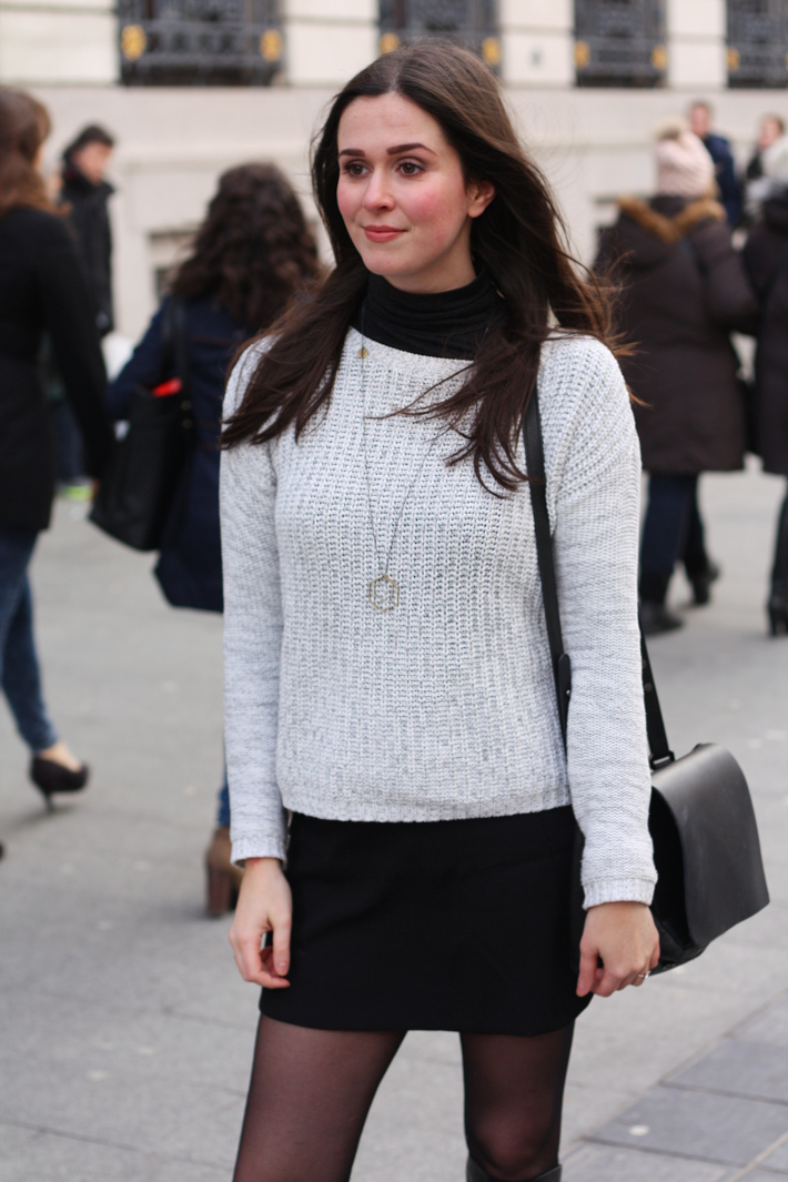 turtle neck, boxy sweater, mini skirt