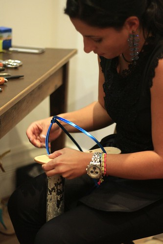 Artisan hand crafting Italian sandals