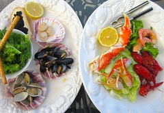Seafood Salad – lettuce in lime vinaigrette, endive in lime vinaigrette, grissini, lemon, caviar on sour dough bread, mussels, clams, shrimp. king crab, snow crab, crayfish, scallops