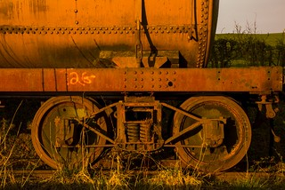 Rusty train in sunset light