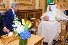 U.S. Secretary of State John Kerry sits with King Salman of Saudi Arabia before a bilateral meeting on March 5, 2015, at Diriya Farm in Riyadh, Saudi Arabia. [State Department photo/ Public Domain]