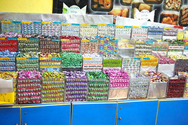 individually-wrapped hard-boiled sweets like Hacks, Mentos, and that fizzly orange sweet. nostalgic for the 1980s? retro Singapore snacks