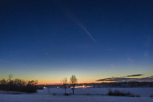 winter sunset ohio sky mars lake snow cold ice evening venus unitedstates poland planets