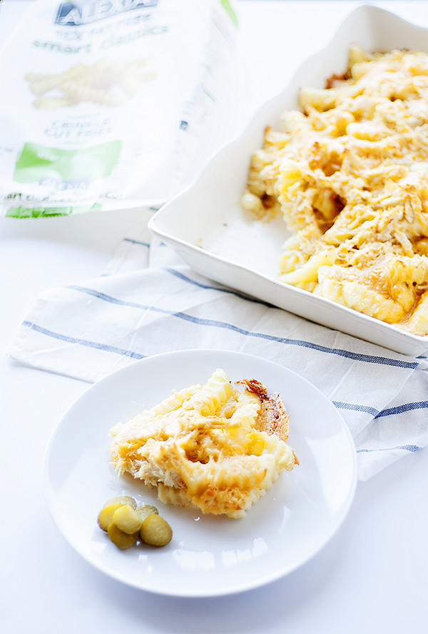cheesy french fry casserole with chicken @AlexiaFoods #farmfoflavor
