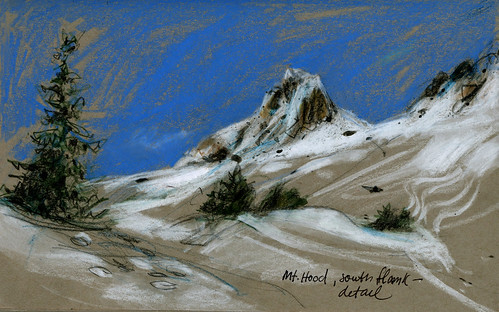 Mt Hood, Oregon. South flank, drawn sitting on a tufa boulder