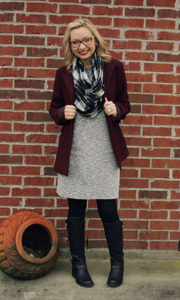 sweatshirt dress + coat + boots +scarf