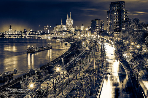 Cologne city and the Cathedral by night (Fineart)