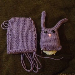 Playing around with bunny nuggets. Double stranded yarn with magic loop is not quite twice as big...  #knit #easteriscoming #bunny