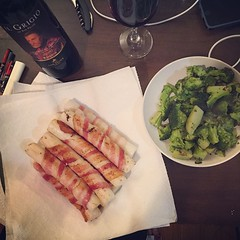 Perfect match: bacon wrapped dduk, broccoli (so we don't feel as guilty), and the Grey One.