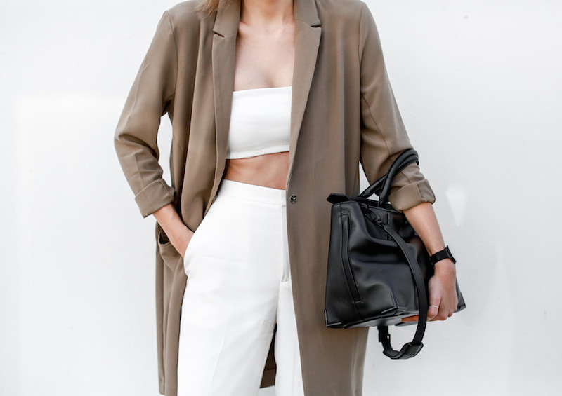modern legacy fashion blog Australia street style ASOS camel boyfriend blazer Josh Goot white bandeau top culottes slide sandals inspo (2 of 10)
