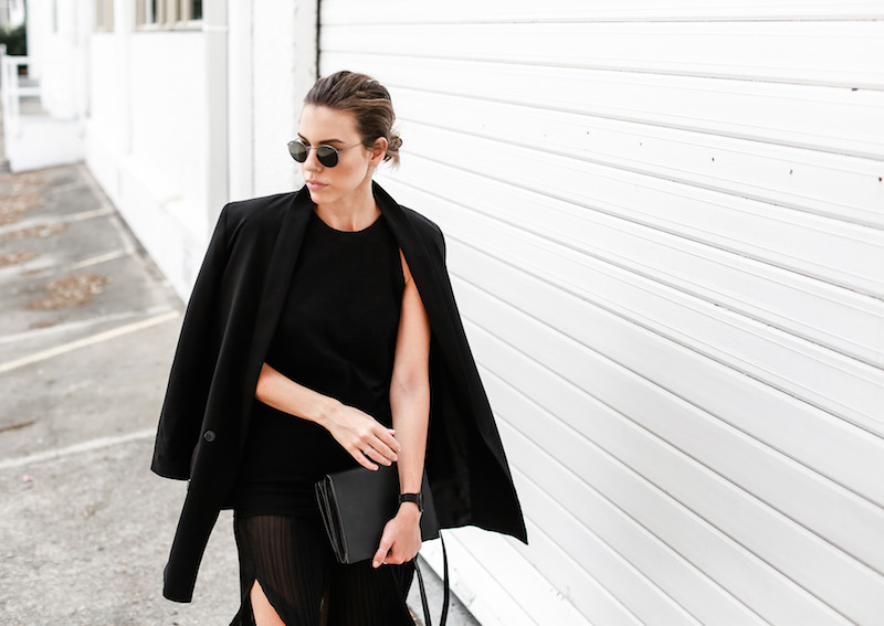 MODERN LEGACY Celine slide sandals all black street style pleated sheer split skirt Bassike tank fashion blog Australia (6 of 13)