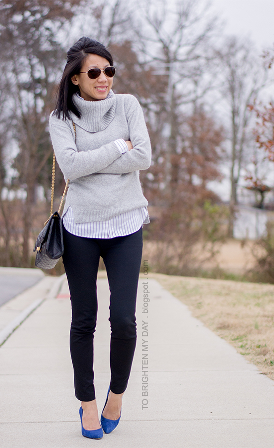 gray cowl sweater, striped button up shirt, blue suede pumps