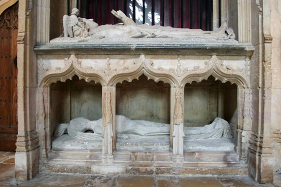 Bishop Fleming's tomb. Cadaver tomb of Bishop Fleming, founder of Lincoln College Oxford, in the choir of St.Mary's Cathedral. Photograph by Richard Croft