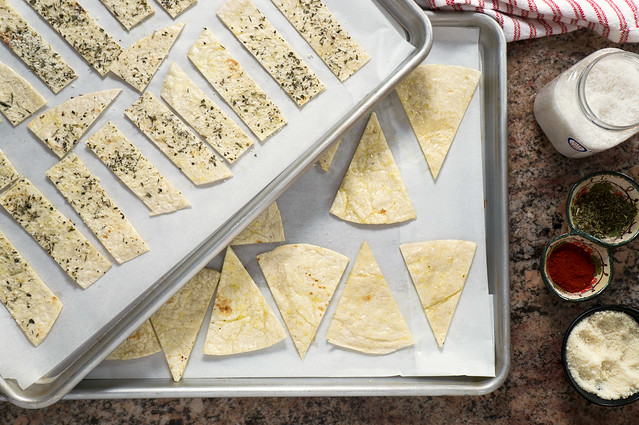 flour tortilla chips on baking sheets