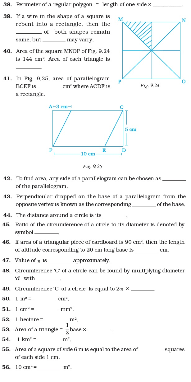 Class 7 Important Questions For Maths Perimeter And Area Aglasem