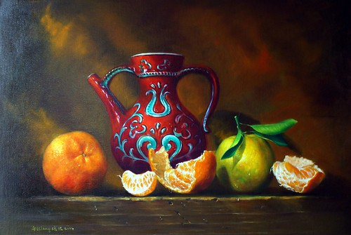 Art LiAng 梁培政油畫靜物 橘子 花瓶 sony oil painting still life orange oranges
