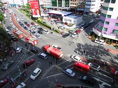 Fire Engines Rushing To Fire In Downtown Kota Kinabalu