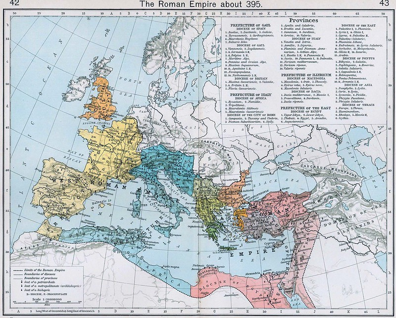 Roman Empire after division in 395. Shepherd, William R. Historical Atlas
