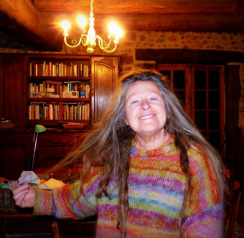 Me with jumper made from small lengths of my hand dyed mohair