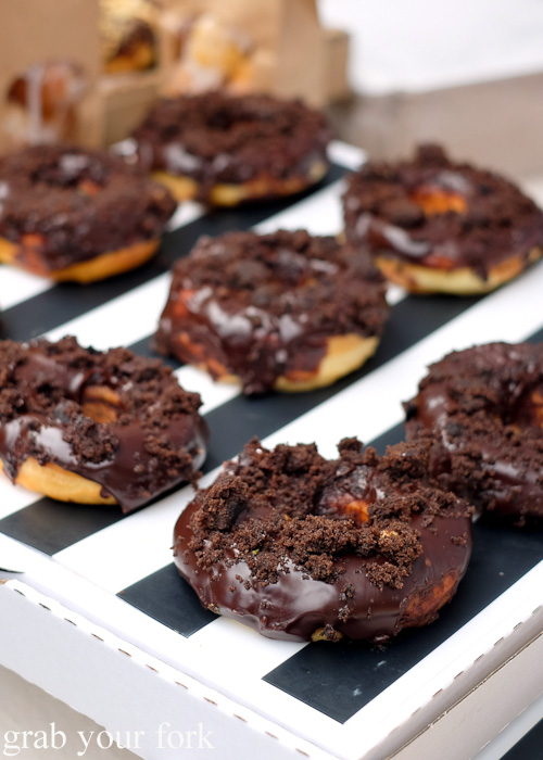 Triple chocolate fudge brownie donuts by Glazed Doughnuts at Brewery Yard Markets