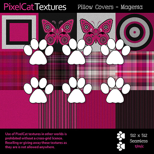PixelCat Textures - Pillow Covers - Magenta