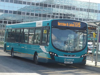 Arrival #3...Arriva MK Wright Pulsar MX13AMU 3777 seen at MK Central on the 5 to Bletchley, 27th February