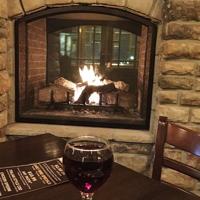 My dinner view and drink...🔥🍷 #thatsall