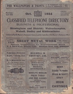 Classified telephone Directory for Birmingham & District, October 1934 - cover