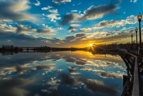 park blue sunset orange cloud reflection water weather clouds river evening march dc washington districtofcolumbia cloudy anacostiariver 2015 publicpark shadeofblue shadeoforange yardspark