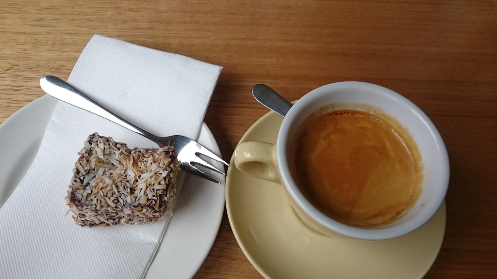 Lamington AUD3.90, long black coffee AUD3.80 - Lemon, Middle and Orange, Collingwood