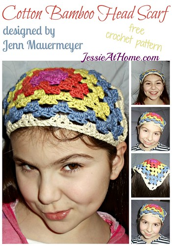 Cotton Bamboo Head Scarf ~ free crochet pattern by Jenn M for JessieAtHome.com