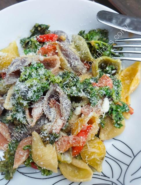 Pâtes au chou frisé et aux poivrons / Kale an Pepper Pasta