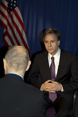 Deputy Secretary of State Antony 'Tony' Blinken is interviewed by BBC Newsnight's Evan Davis about current events, including Iran, Ukraine, U.S.-U.K. relationship, at the U.S. Embassy in London, United Kingdom, on March 4, 2015. [State Department photo/ Public Domain]