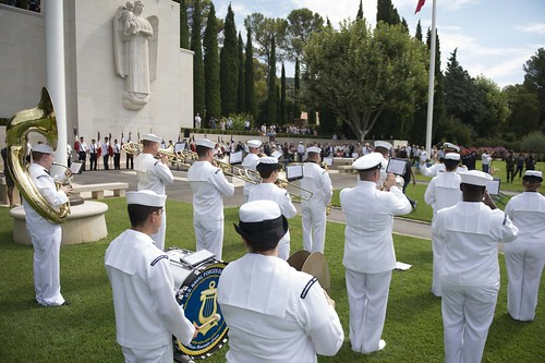 Tue, 08/16/2016 - 12:26 - 160816-N-KP948-073 DRAGUIGNAN, France (Aug. 16, 2016) - The U.S. Naval Forces Europe Band performs at a ceremony to honor service members who died during the World War II Allied landing on Southern France, code-named Operation Dragoon, at Rhone American Cemetery Aug. 16, 2016. The ceremony is part of a series of events that the U.S. Navy is participating in alongside French civilian and military officials to commemorate the 72nd Anniversary of Operation Dragoon.  (U.S. Navy Photo by Mass Communication Specialist Seaman Alyssa Weeks/Released)